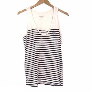 J. CREW Vintage Cotton Tank Top Cream Navy Striped